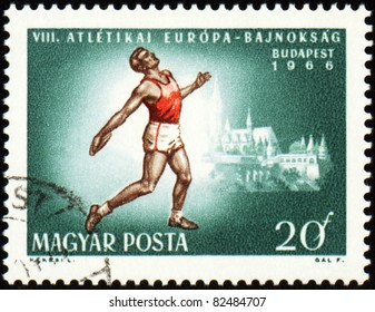 HUNGARY - CIRCA 1966: A stamp printed in Hungary shows running sportsman at finish, devoted to European Athletics League, circa 1966