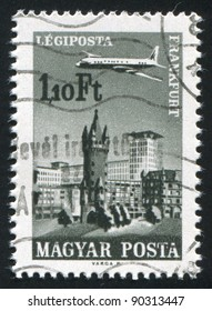HUNGARY - CIRCA 1966: stamp printed by Hungary, shows Plane over Frankfort on the Main, circa 1966