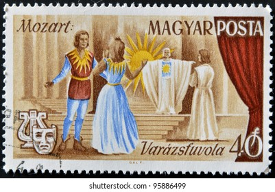HUNGARY - CIRCA 1967: stamp printed in Hungary shows Scene from Magic Flute opera by Wolfgang Amadeus Mozart, circa 1967