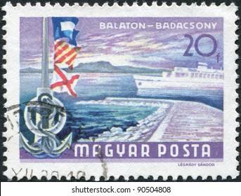 HUNGARY - CIRCA 1968: A stamp printed in Hungary, depicts Lake Balaton at Badacsony, circa 1968