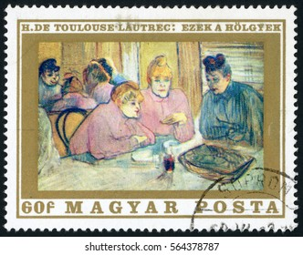 HUNGARY - CIRCA 1969: post stamp printed in Hungary (Magyar) shows these women by Toulouse-Lautrec; French paintings; art treasures in Budapest museum; Scott 1976 A427 60f, circa 1969