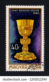 HUNGARY - CIRCA 1970: A postage stamp printed in Hungary shows a Benedek Suky chalice, as part of a series dedicated to Hungarian goldsmith art.