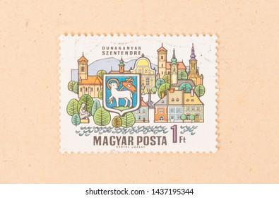 HUNGARY  - CIRCA 1970: A stamp printed in Hungary shows Dunakanyar Szentendre, circa 1970