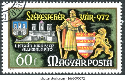 HUNGARY - CIRCA 1972: A stamp printed in Hungary, dedicatedMillennium of the town of Szekesfehervar, depicted the St. Stephen, first King of Hungary, circa 1972