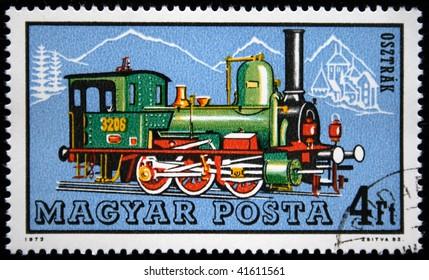 HUNGARY - CIRCA 1972: A stamp printed in Hungary shows steam locomotive, circa 1972