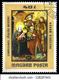 "HUNGARY - CIRCA 1973: A stamp printed in Hungary, shows Painting ""Adoration of the Kings"", the same inscription, series ""Esztergom Millennium. Old Master Paintings in the Christian Museum"", circa 1973"