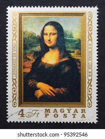 HUNGARY – CIRCA 1974: postage stamp printed in Hungary showing an image of Mona Lisa or La Gioconda from Leonardo Da Vinci, circa 1974.
