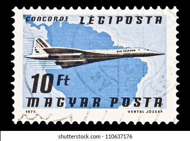 """HUNGARY - CIRCA 1977 : A stamp printed in Hungary, shows Airlines and Maps with the inscription """"Concorde"""", from the series """"Airpost"""", circa 1977"""