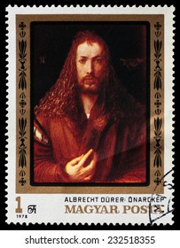 HUNGARY - CIRCA 1978: A postage stamp printed in the Hungary shows painting Albrecht Durer self portrait from Alte Pinakothek Munich, circa 1978