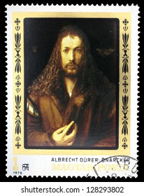 "HUNGARY - CIRCA 1978: A stamp printed in Hungary, shows a picture of artist Albrecht Durer ""Self-portrait"", the same inscription, series ""450th Death Anniversary of Albrecht Durer"", circa 1978"