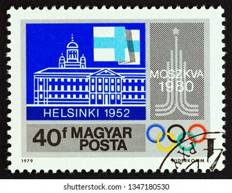 """HUNGARY - CIRCA 1979: A stamp printed in Hungary from the """"Summer Olympic Games, 1980 Moscow"""" issue shows Helsinki 1952, circa 1979."""