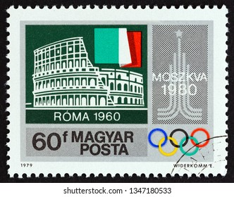 """HUNGARY - CIRCA 1979: A stamp printed in Hungary from the """"Summer Olympic Games, 1980 Moscow"""" issue shows Rome 1960, circa 1979."""
