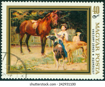 HUNGARY - CIRCA 1979: A stamp printed in Hungary shows Hunting Dogs, by Vaszary Janos, circa 1979
