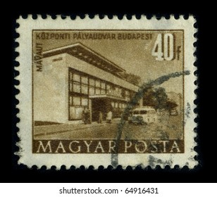 HUNGARY - CIRCA 1980: A stamp dedicated to the Budapest Keleti palyaudvar, Hungarian for Budapest East railway station is the largest among the three main railway stations in Budapest, circa 1980.