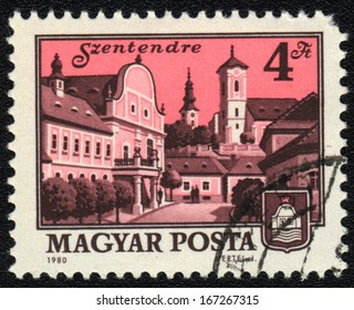 HUNGARY - CIRCA 1980: A stamp printed in HUNGARY shows Szentendre,  circa 1980
