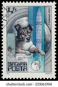 """HUNGARY - CIRCA 1982: A stamp printed in Hungary shows Laika dog, Sputnik 2 (1957), with the same inscription, from the series """"Space Research"""", circa 1982"""