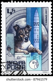 """HUNGARY - CIRCA 1982: A Stamp printed in HUNGARY shows the Laika, Sputnik 2 (1957), from the series """"25 Years of Space Travel"""", circa 1982"""