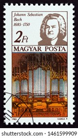 """HUNGARY - CIRCA 1985: A stamp printed in Hungary from the """"International Year of Music, composers"""" issue shows Johann Sebastian Bach, circa 1985."""