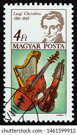 """HUNGARY - CIRCA 1985: A stamp printed in Hungary from the """"International Year of Music, composers"""" issue shows Luigi Cherubini, circa 1985."""