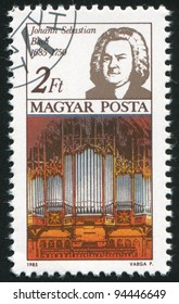 HUNGARY - CIRCA 1985: A stamp printed by Hungary, shows Johann Sebastian Bach and Thomas Church organ, circa 1985