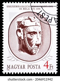 HUNGARY - CIRCA 1986: A stamp printed in Hungary shows portrait of Bela III, Hungarian king 1172-1196