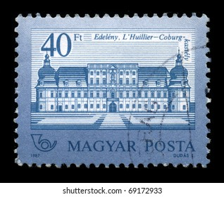 HUNGARY - CIRCA 1987: A stamp dedicated to The Edeleny L'Huillier-Coburg Palace in Hungary's sixth largest castle in the early Baroque architecture in Hungary outstanding memories., circa 1987.