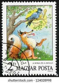 HUNGARY - CIRCA 1987: A stamp printed by Hungary shows the Fox and the Crow, Aesops Fables, Fairy Tales series, circa 1987
