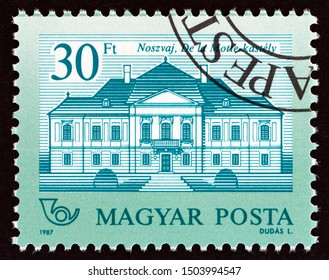 """HUNGARY - CIRCA 1987: A stamp printed in Hungary from the """"Castles"""" issue shows De la Motte Castle, Noszvaj, circa 1987."""