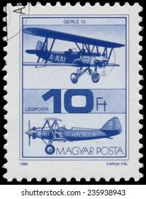 """HUNGARY - CIRCA 1988 : A stamp printed in Hungary shows Old Airplane, with the inscription """"Gerle 13"""", from the series Airplanes, circa 1988"""