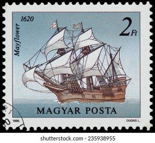 "HUNGARY - CIRCA 1988: A stamp printed in Hungary from the ""Sailing Ships "" issue shows Mayflower, 1620, circa 1988."