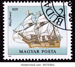 HUNGARY - CIRCA 1988:  A stamp printed in Hungary showing the Mayflower on the open seas.  The Mayflower transported the pilgrims to the new world, circa 1988.