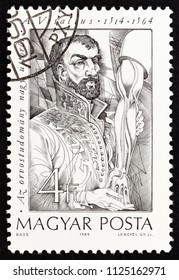 "HUNGARY - CIRCA 1989: A stamp printed in Hungary from the ""Pioneers of Medicine (2nd series)"" issue shows Andreas Vesalius (dissection), circa 1989."