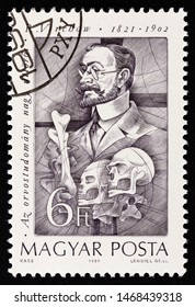 """HUNGARY - CIRCA 1989: A stamp printed in Hungary from the """"Pioneers of Medicine (2nd series)"""" issue shows Rudolf Virchow (cell theory), circa 1989."""