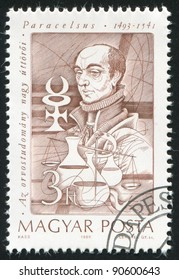 HUNGARY - CIRCA 1989: stamp printed by Hungary, shows Paracelsus, alchemist, circa 1989