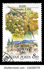 "HUNGARY - CIRCA 1990: A stamp printed in Hungary shows Leanyka Grapes, Eger, with the same inscription, from the series ""Grapes and Growing Area"", circa 1990"