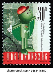 """HUNGARY - CIRCA 1998: A stamp printed in Hungary from the """"Balint Post Little Man"""" issue shows Postman Valentine, circa 1998."""