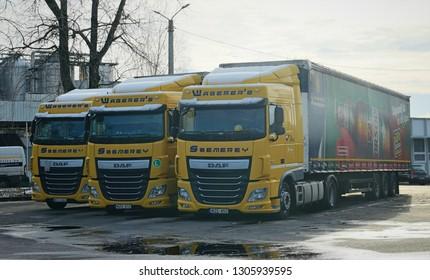 Bőcs, Hungary - circa November 2018: Waberers DAF trucks in front of Borsodi brewery