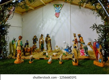 HUNGARY - DECEMBER 20, 2017: Nativity Scene in a Christmas from Budapest. Adoration of the three wise men to baby Jesus.