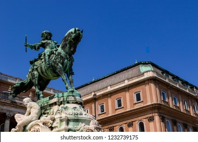 Hungary, Europe Jun 17 2018 : Illustrative Equestrian statue of Prince Eugene of Savoy, in front of the historic Royal Palace in Buda Castle, Hungary, Europe