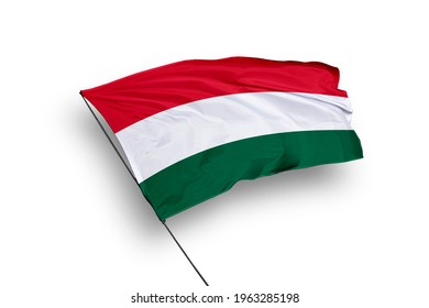 Hungary flag isolated on white background with clipping path. close up waving flag of Hungary. flag symbols of Hungary.