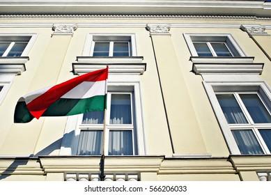 Hungary flag on the mast