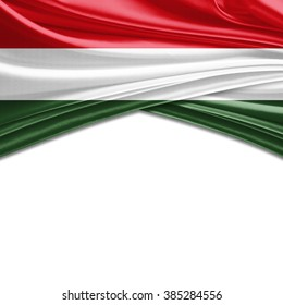 Hungary flag of silk with copyspace for your text or images and white background
