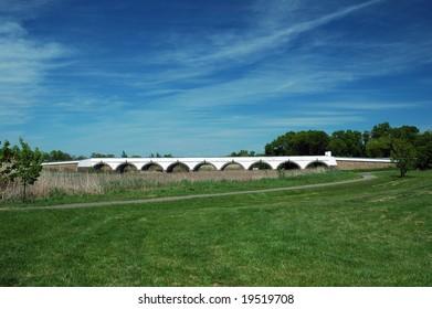 Hungary Hortobagy Nine Hole Bridge with blue sky in the background