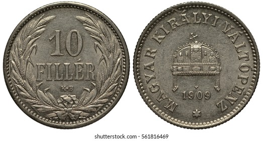 Hungary Hungarian 10 ten filler 1909, denomination flanked by sheaves of wheat, crown with leaning cross, date under crown,