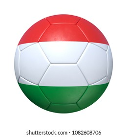 Hungary Hungarian soccer ball with national flag. Isolated on white background. 3D Rendering, Illustration.