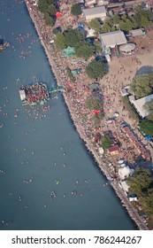 Zamárdi / Hungary - July 10 2011: Aerial view of a music festival called Balaton Sound.