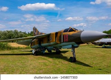Hungary Kiskunlachaza Jun 06, 2019. Museum of Airforce, MIG 23 multipurpose fighter jet.   MiG-23.  3rd generation  fighter-bomber.