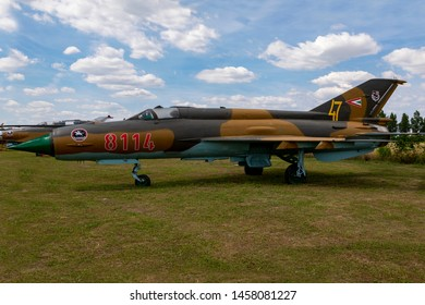 Hungary Kiskunlachaza Jun 06, 2019. Museum of Airforce, MIG 21 multipurpose fighter jet.   MiG-21.