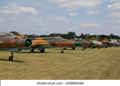 Hungary Kiskunlachaza Jun 06, 2019. Museum of Airforce, MIG 21, MIG 23, MIG 15 multipurpose fighter jets.   MIG collection