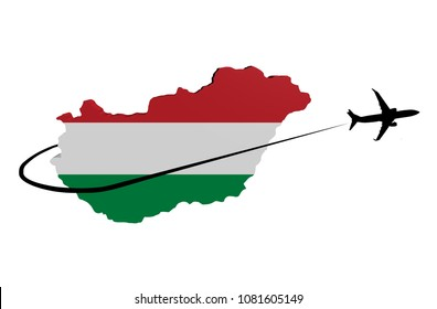Hungary map flag with plane silhouette and swoosh 3d illustration